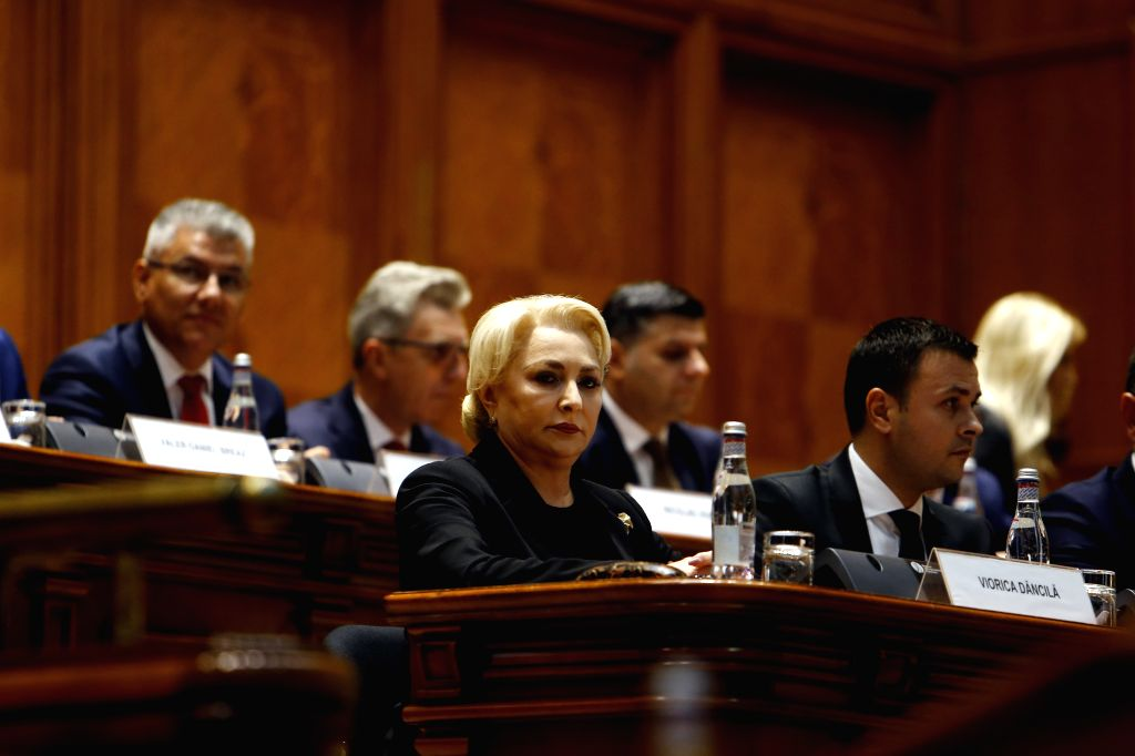 BUCHAREST, Oct. 10, 2019 - Romania's Prime Minister Viorica Dancila (front L) attends a no-confidence vote against her government in Bucharest, capital of Romania, Oct. 10, 2019. The Romanian Social ... - Viorica Dancila