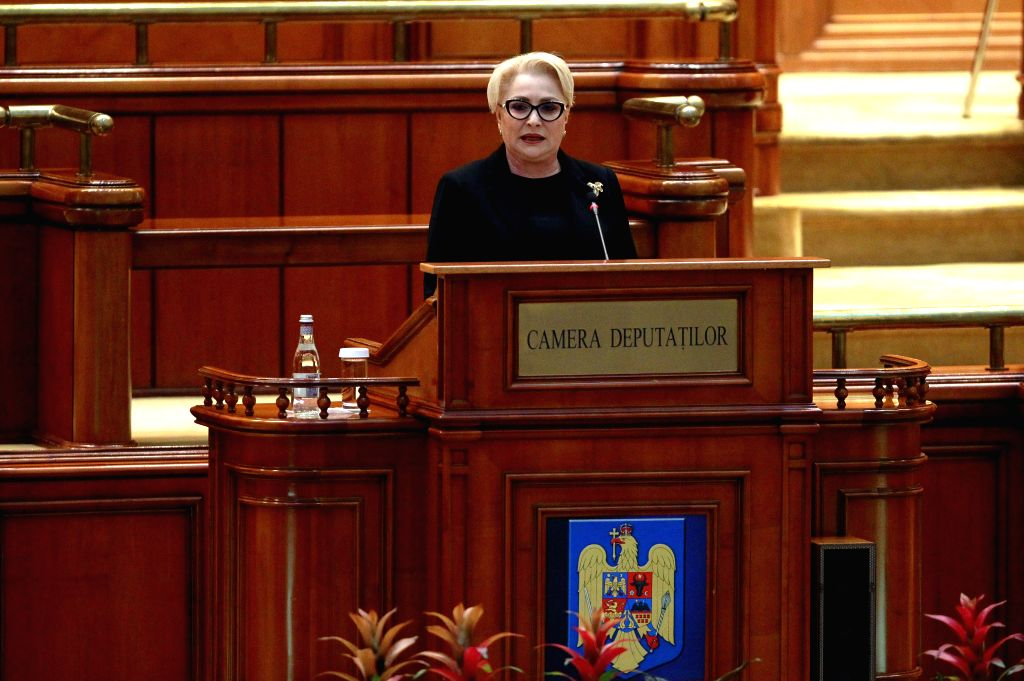 BUCHAREST, Oct. 10, 2019 - Romania's Prime Minister Viorica Dancila addresses the parliament during a no-confidence vote against her government in Bucharest, capital of Romania, Oct. 10, 2019. The ... - Viorica Dancila