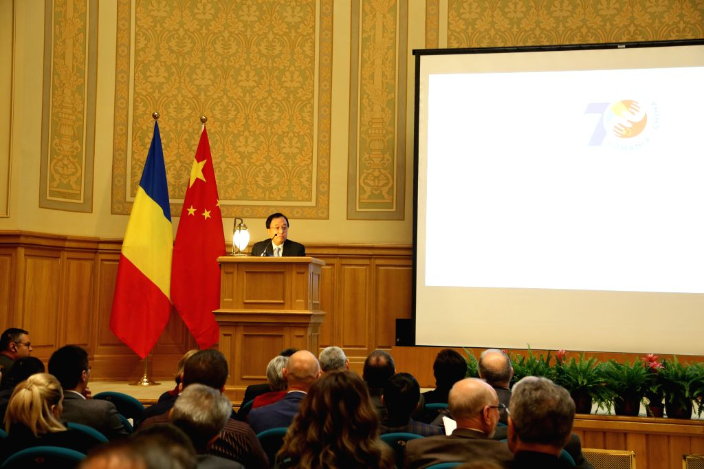 BUCHAREST, Oct. 9, 2019 - Chen Yuming, visiting Vice President of China Public Diplomacy Association, speaks during a seminar on China-EU Relations and the 70th Anniversary of the Establishment of ...
