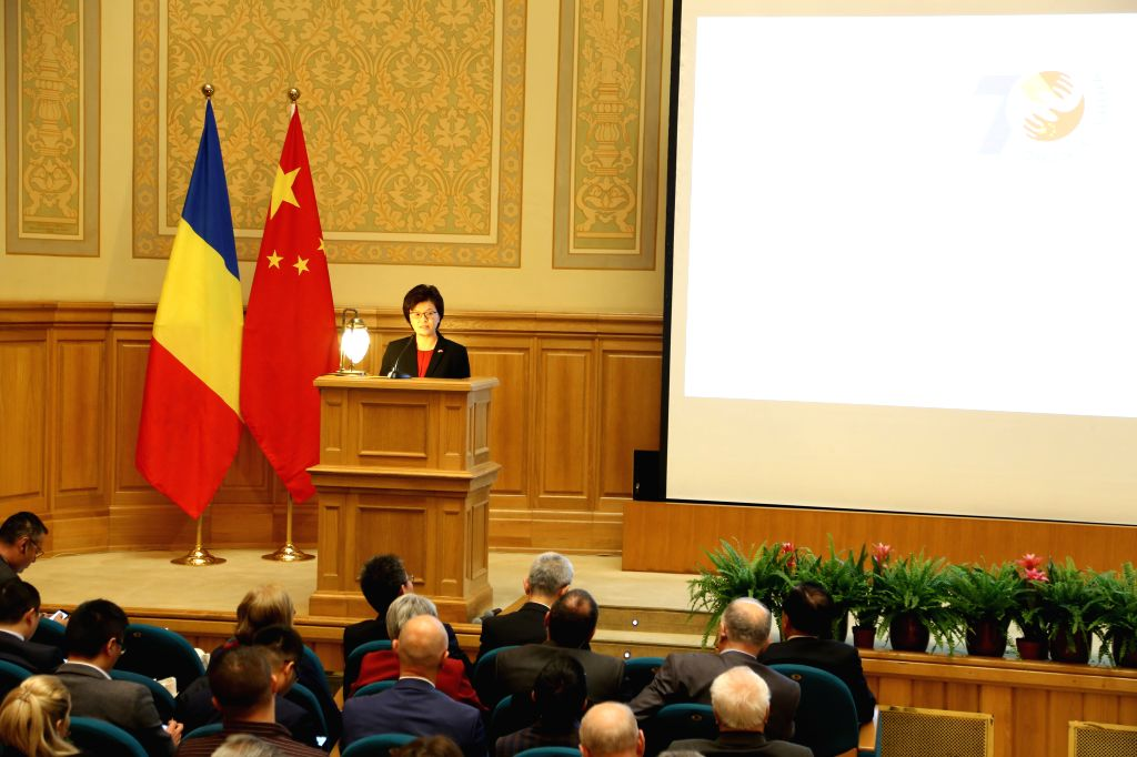 BUCHAREST, Oct. 9, 2019 - Chinese Ambassador to Romania Jiang Yu speaks during a seminar on China-EU Relations and the 70th Anniversary of the Establishment of Diplomatic Relations between China and ...