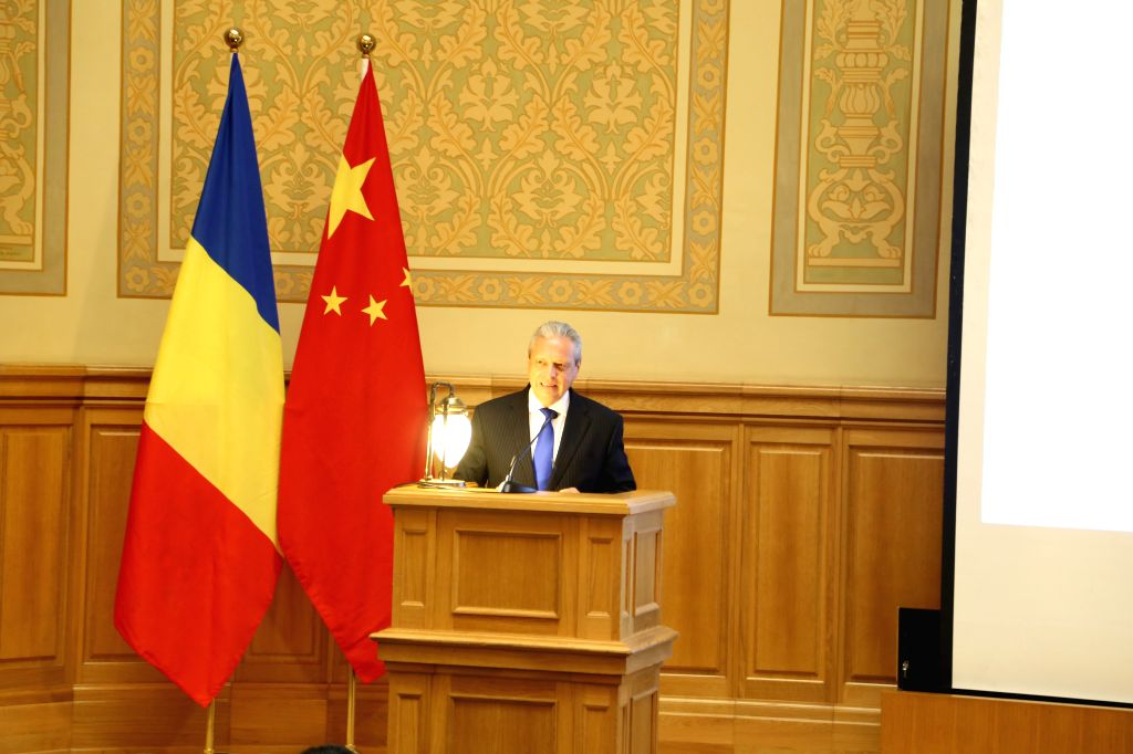 BUCHAREST, Oct. 9, 2019 - Viorel Isticioaia-Budura, special representative for Asian affairs of the Romanian Foreign Ministry speaks during a seminar on China-EU Relations and the 70th Anniversary of ...