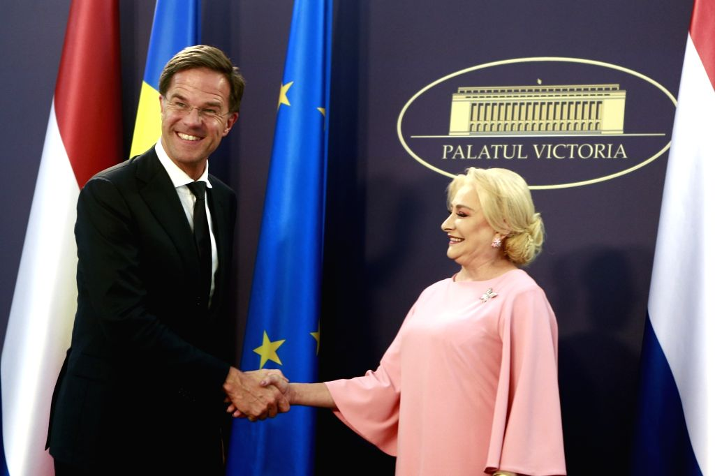 BUCHAREST, Sept. 12, 2018 - Visiting Dutch Prime Minister Mark Rutte (L) shakes hands with Romanian Prime Minister Viorica Dancila at the Victoria Palace in Bucharest, Romania, Sept. 12, 2018. Mark ... - Mark Rutte