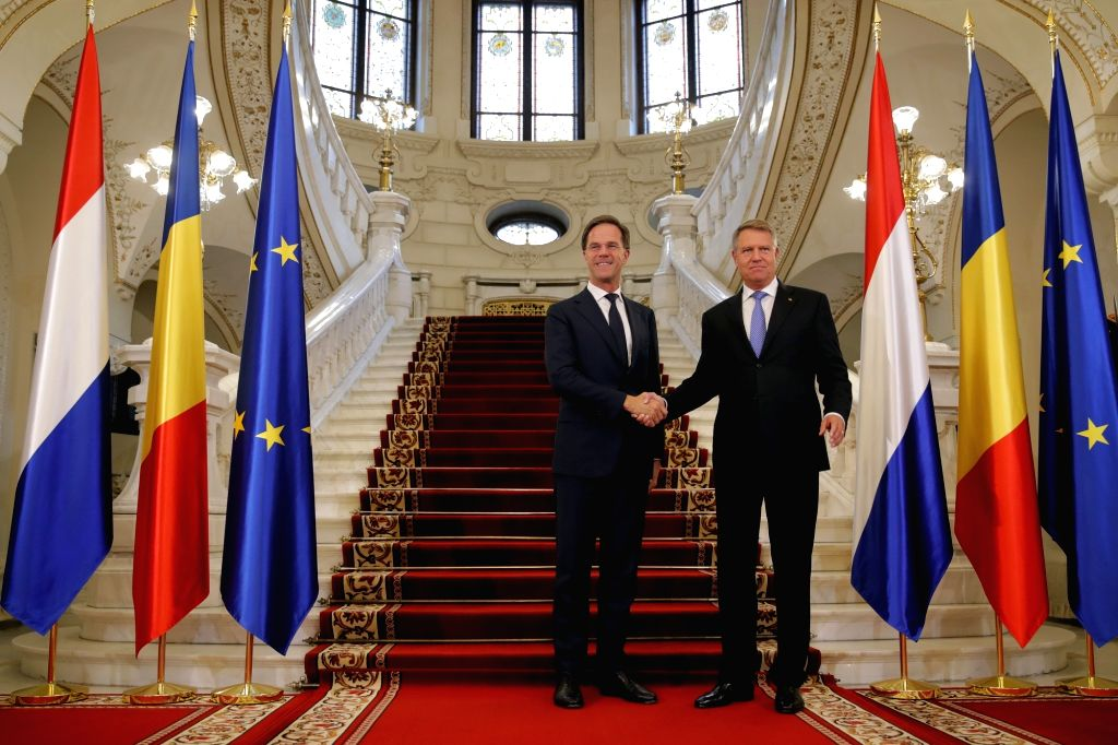 BUCHAREST, Sept. 12, 2018 - Visiting Dutch Prime Minister Mark Rutte (L) is welcomed by Romanian President Klaus Iohannis at the Cotroceni Palace in Bucharest, Romania, Sept. 12, 2018. Mark Rutte on ... - Mark Rutte