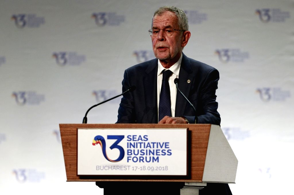 BUCHAREST, Sept. 18, 2018 - Austria's President Alexander Van Der Bellen addresses the opening ceremony of the Three Seas Initiative Business Forum in Bucharest, Romania, Sept. 17, 2018. This was the ...