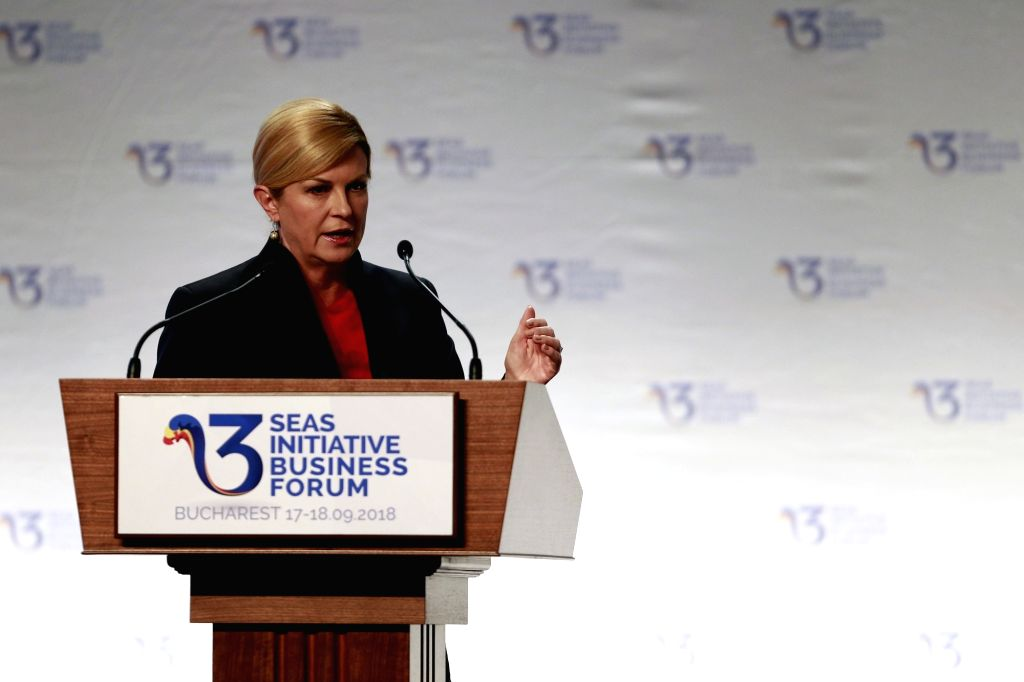 BUCHAREST, Sept. 18, 2018 - Croatia's President Kolinda Grabar-Kitarovic addresses the opening ceremony of the Three Seas Initiative Business Forum in Bucharest, Romania, Sept. 17, 2018. This was the ...