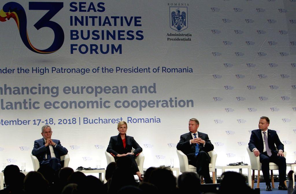 BUCHAREST, Sept. 18, 2018 - (L-R) Austria's President Alexander Van Der Bellen, Croatia's President Kolinda Grabar-Kitarovic, Romania's President Klaus Iohannis and Polish President Andrzej Duda ...