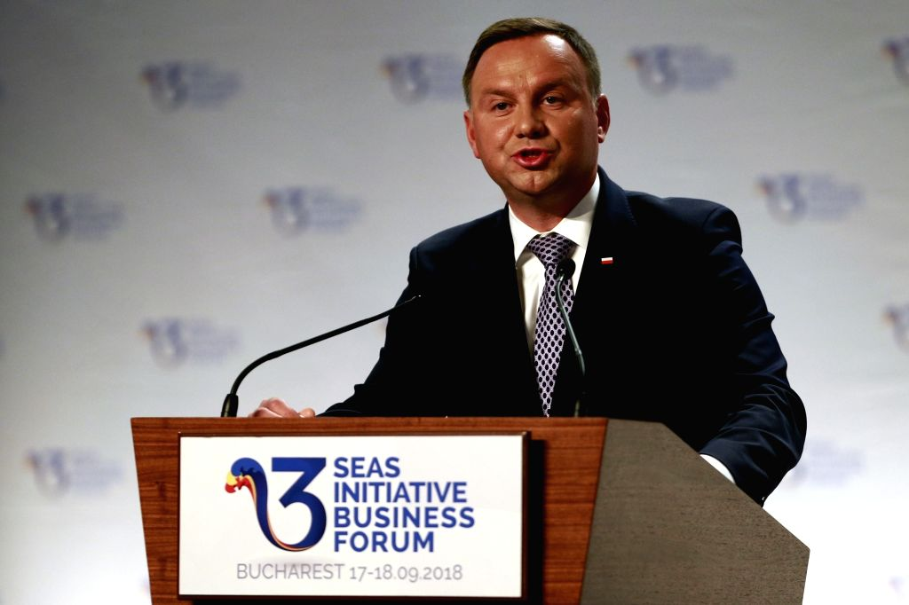 BUCHAREST, Sept. 18, 2018 - Polish President Andrzej Duda addresses the opening ceremony of the Three Seas Initiative Business Forum in Bucharest, Romania, Sept. 17, 2018. This was the first business ...