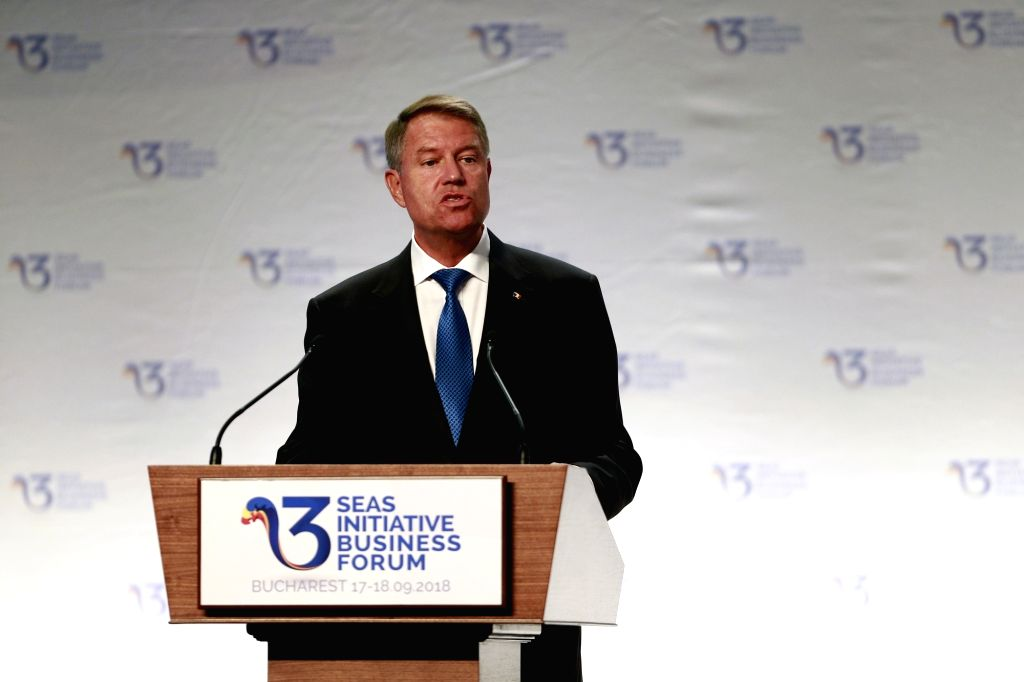 BUCHAREST, Sept. 18, 2018 - Romania's President Klaus Iohannis addresses the opening ceremony of the Three Seas Initiative Business Forum in Bucharest, Romania, Sept. 17, 2018. This was the first ...