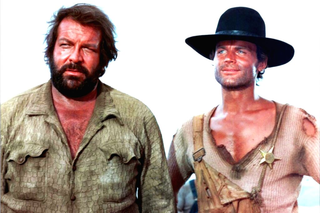 "Bud Spencer (left) with Terence Hill in their iconic film ""They Call Me Trinity"" (1970)"