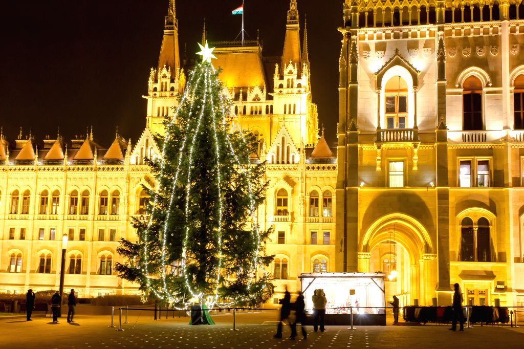 A Christmas tree with lights stands in front of the Hungarian Parliament in Budapest, Hungary on Dec. 10, 2014. )