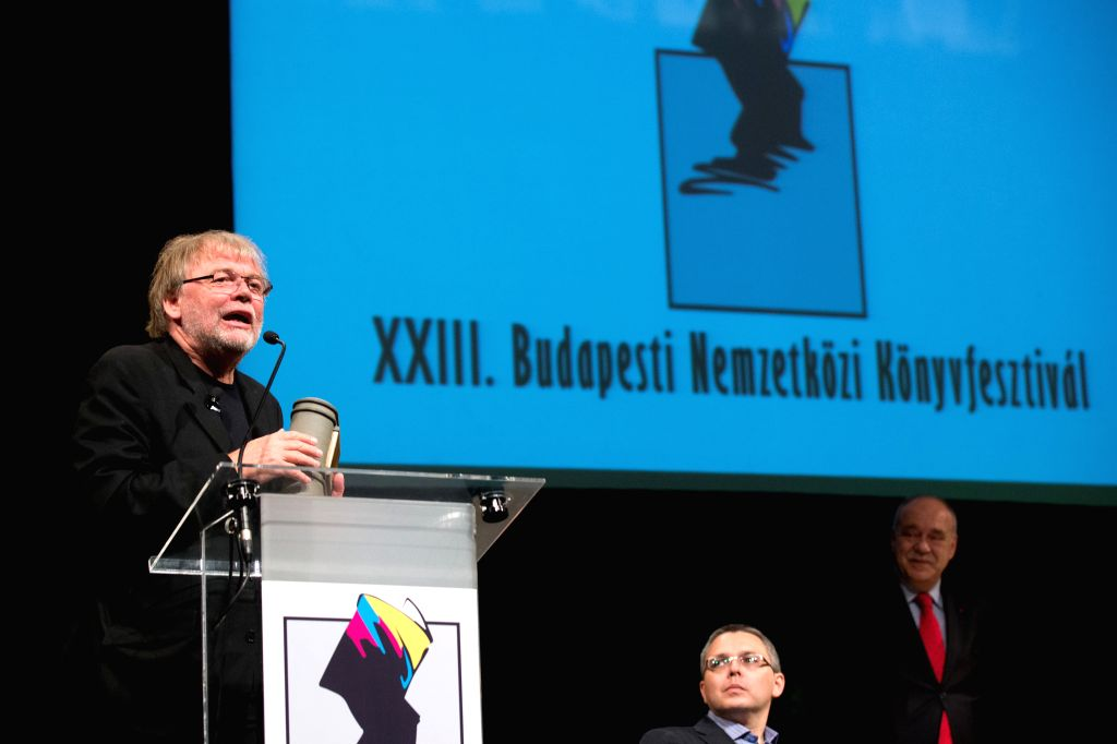 BUDAPEST, April 22, 2016 - Norwegian author Jostein Gaarder receives the Budapest Grand Prize on the opening day of the 23rd Budapest International Book Festival in Budapest, Hungary on April 21, ...