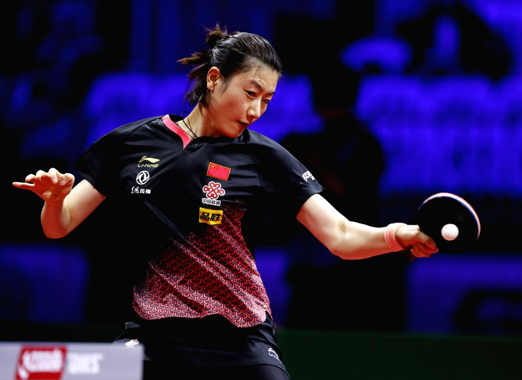 BUDAPEST, April 24, 2019    Ding Ning of China competes during the women's singles round of 32 match with Adriana Diaz of Puerto Rico at 2019 ITTF World Table Tennis Championships in ...