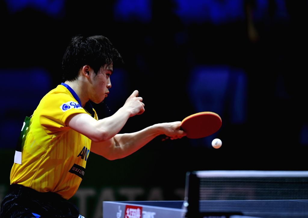BUDAPEST, April 25, 2019 - Masataka Morizono of Japan competes during the men's singles round of 32 match against Timo Boll of Germany at 2019 ITTF World Table Tennis Championships in Budapest, ...