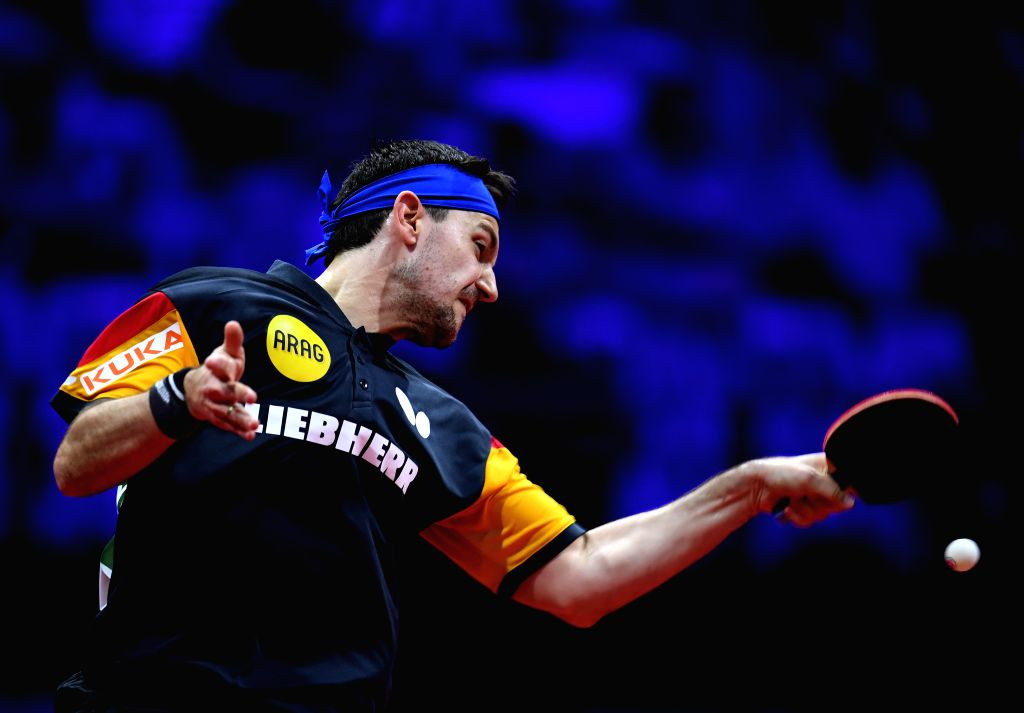 BUDAPEST, April 25, 2019 - Timo Boll of Germany competes during the men's singles round of 32 match against Masataka Morizono of Japan at 2019 ITTF World Table Tennis Championships in Budapest, ...