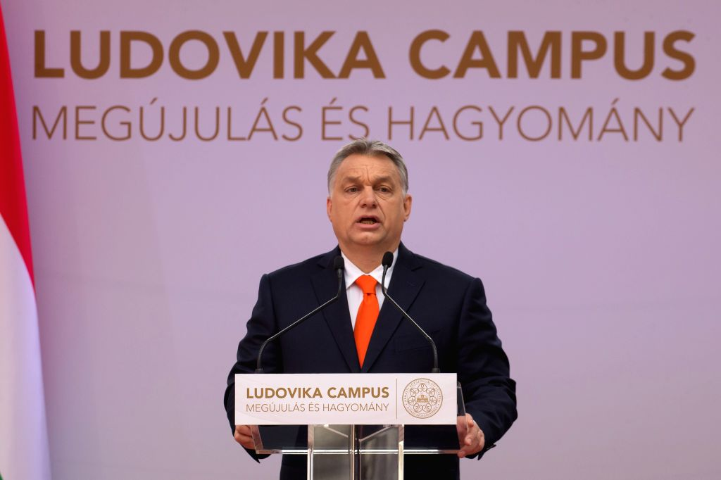 BUDAPEST, April 4, 2018 - Hungarian Prime Minister Viktor Orban delivers a speech at the inauguration ceremony of the Ludovika Campus of the National University of Public Service in Budapest, Hungary ... - Viktor Orban