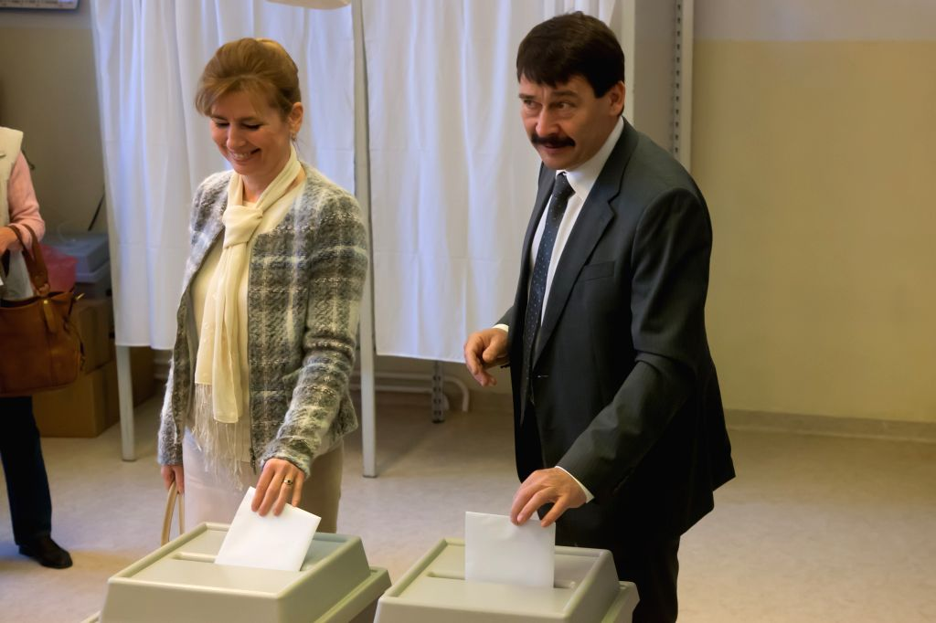 BUDAPEST, April 8, 2018 - Hungary's President Janos Ader and his wife Anita Herczegh cast their votes at a polling station in Budapest, Hungary on April 8, 2018. Hungary started general elections on ... - Viktor Orban