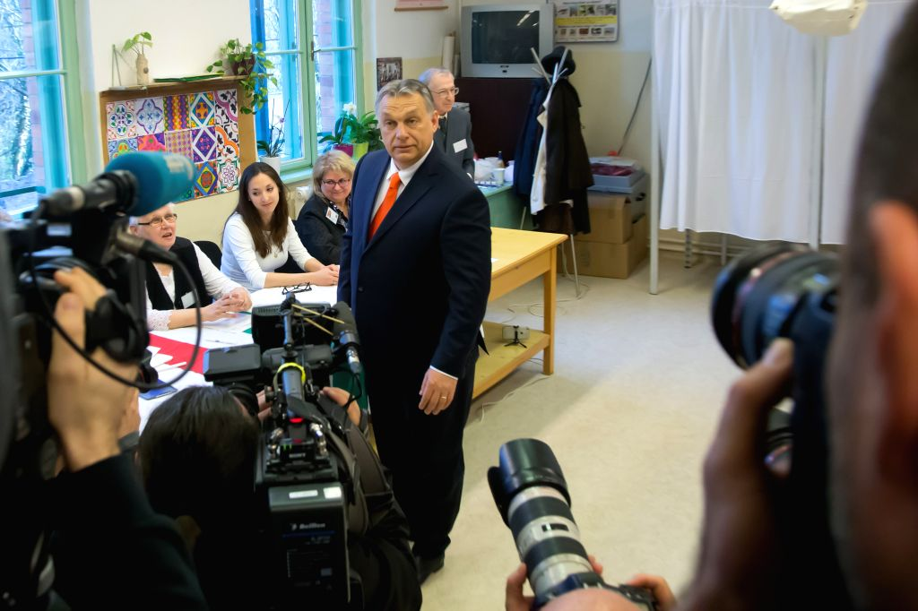 BUDAPEST, April 8, 2018 - Hungary's Prime Minister Viktor Orban casts his ballot at a polling station in Budapest, Hungary on April 8, 2018. Hungary started general elections on Sunday to elect a ... - Viktor Orban
