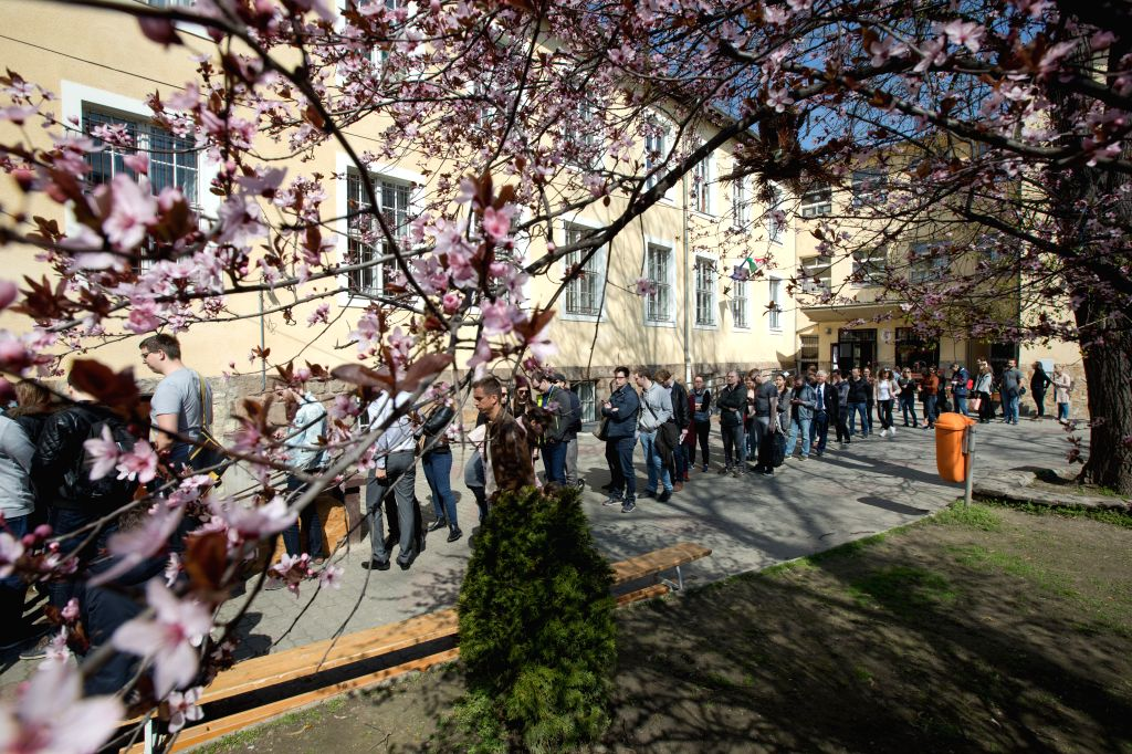 BUDAPEST, April 8, 2018 - People queue outside a polling station waiting to cast their votes in Budapest, Hungary on April 8, 2018. Hungary started general elections on Sunday to elect a 199-seat ... - Viktor Orban