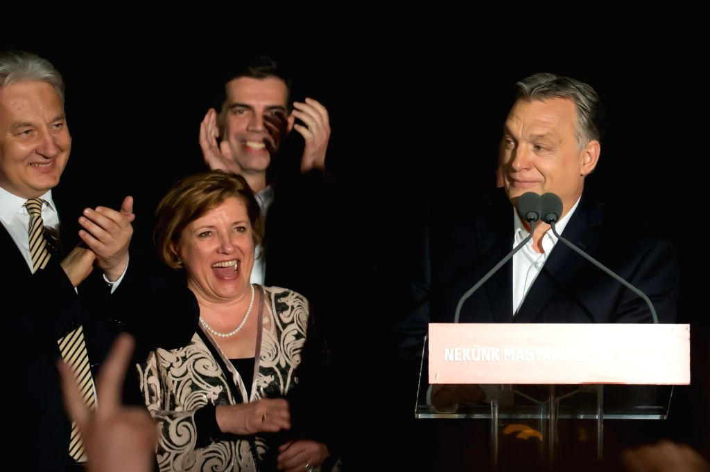 BUDAPEST, April 9, 2018 - Hungary's Prime Minister Viktor Orban (1st, R) delivers a speech after his ruling Fidesz-KDNP coalition won the general elections in Budapest, Hungary, on April 8, 2018. ... - Viktor Orban