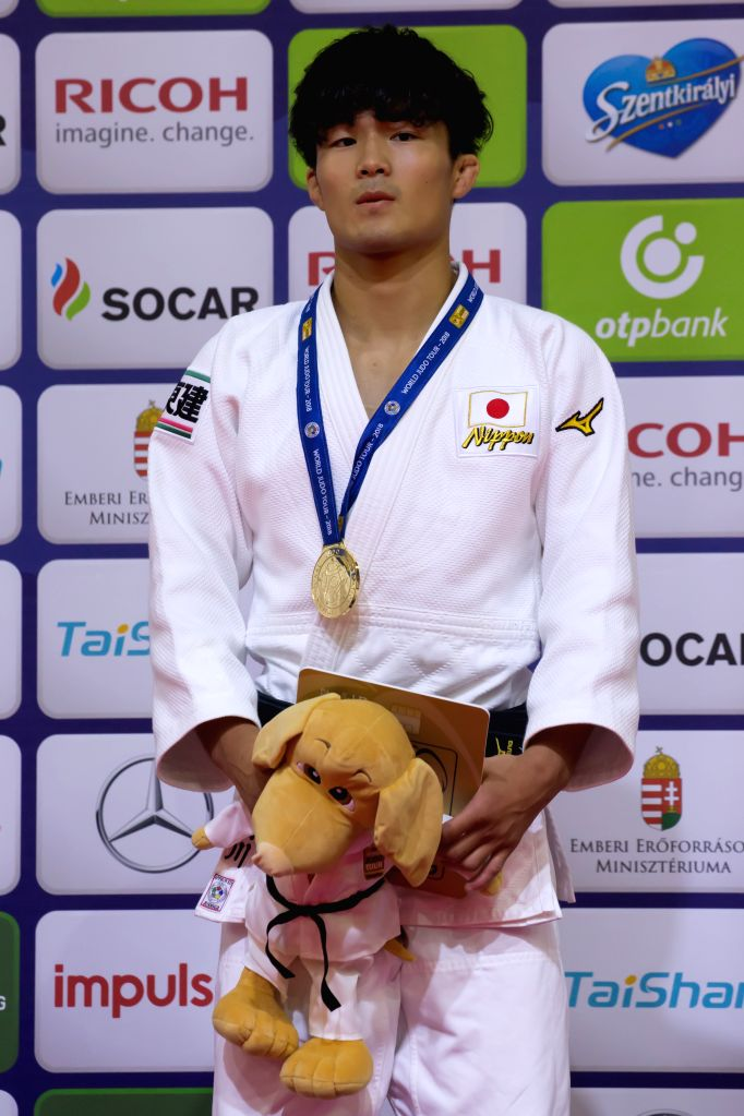 BUDAPEST, Aug. 11, 2018 - Gold medalist Kenzo Tagawa of Japan attends the awarding ceremony of the men's 66kg category at the Judo Grand Prix Budapest 2018 in Budapest, Hungary on Aug. 10, 2018.