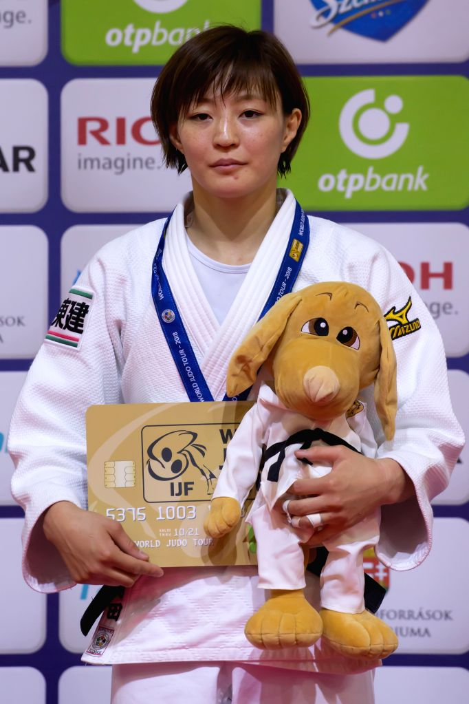 BUDAPEST, Aug. 11, 2018 - Gold medalist Natsumi Tsunoda of Japan attends the awarding ceremony of the women's 52kg category at the Judo Grand Prix Budapest 2018 in Budapest, Hungary on Aug. 10, 2018.