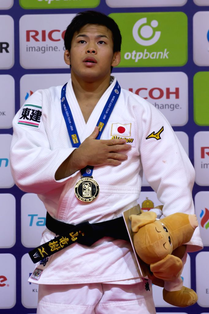 BUDAPEST, Aug. 11, 2018 - Gold medalist Ryuju Nagayama of Japan attends the awarding ceremony of the men's 60kg category at the Judo Grand Prix Budapest 2018 in Budapest, Hungary on Aug. 10, 2018.
