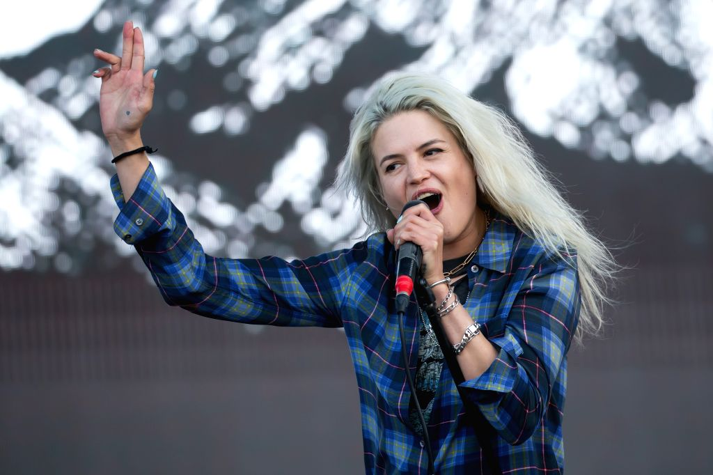 """BUDAPEST, Aug. 15, 2017 - U.S. singer Alison Mosshart, member of the indie rock band """"The Kills"""", performs at the 25th Sziget Festival in Budapest, Hungary, on Aug. 15, 2017. The Sziget ..."""