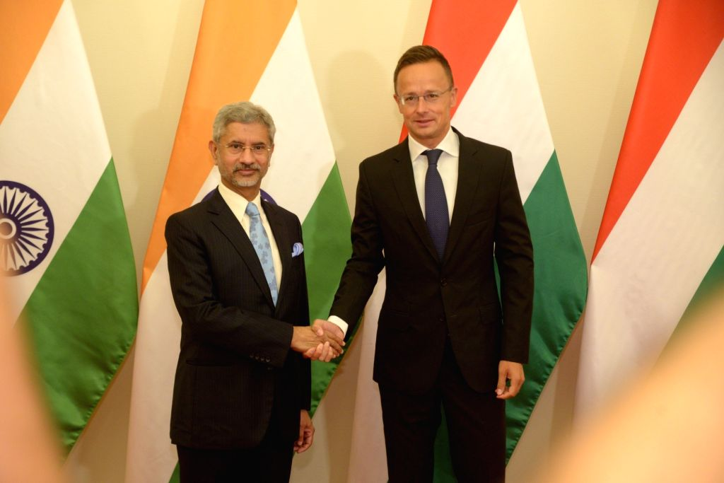 Budapest: External Affairs Minister S. Jaishankar meets Hungarian Foreign Minister Peter Szijjarto in Budapest on Aug 26, 2019. (Photo: IANS/MEA) - S. Jaishankar