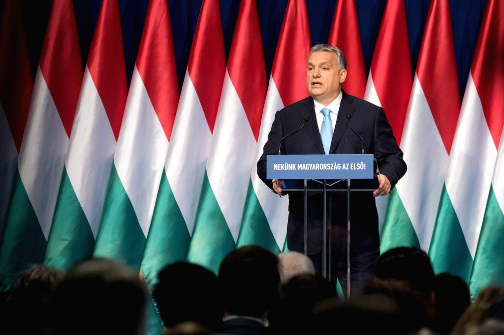 BUDAPEST, Feb. 10, 2019 - Hungarian Prime Minister Viktor Orban delivers his annual speech in Budapest, Hungary, on Feb. 10, 2019. Viktor Orban announced here on Sunday in his annual speech a bold ... - Viktor Orban