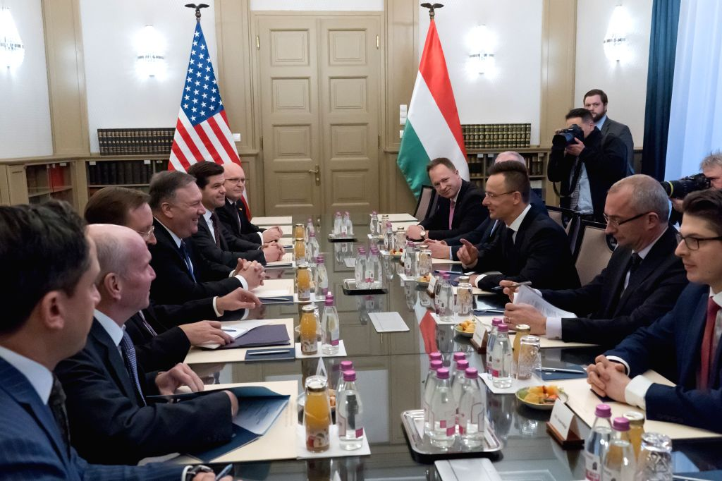 BUDAPEST, Feb. 11, 2019 - Visiting U.S. Secretary of State Mike Pompeo attends a meeting with Hungarian Minister of Foreign Affairs and Trade Peter Szijjarto in Budapest, Hungary, on Feb. 11, 2019.