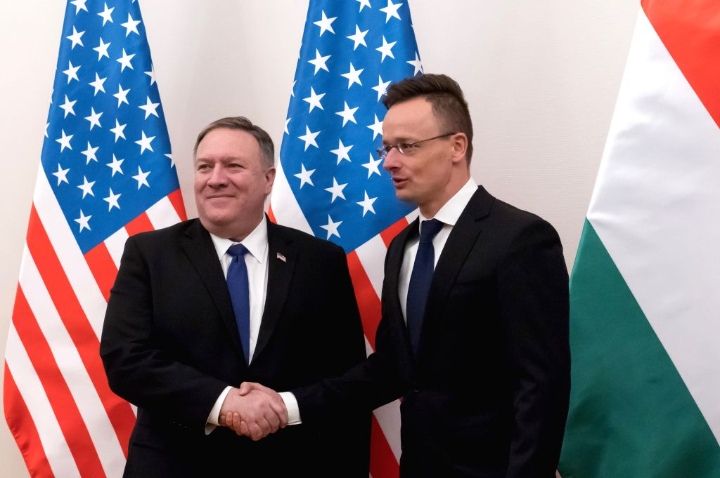 BUDAPEST, Feb. 11, 2019 - Visiting U.S. Secretary of State Mike Pompeo (L) shakes hands with Hungarian Minister of Foreign Affairs and Trade Peter Szijjarto before their meeting in Budapest, Hungary, ...