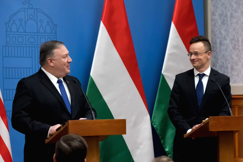 BUDAPEST, Feb. 11, 2019 - Visiting U.S. Secretary of State Mike Pompeo (L) attends a press conference with Hungarian Minister of Foreign Affairs and Trade Peter Szijjarto in Budapest, Hungary, on ...