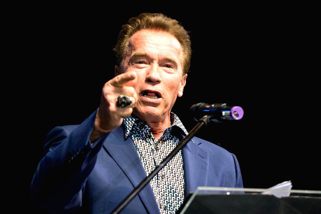 US actor and former California governor Arnold Schwarzenegger delivers a speech at an event in Budapest, Hungary on Feb. 22, 2015.