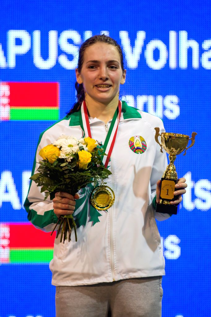 Gold medalist Volha Papush of Belarus poses during the awarding ceremony after the women's event of Peridot Hungarian Open Indoor Modern Pentathlon Competition in .