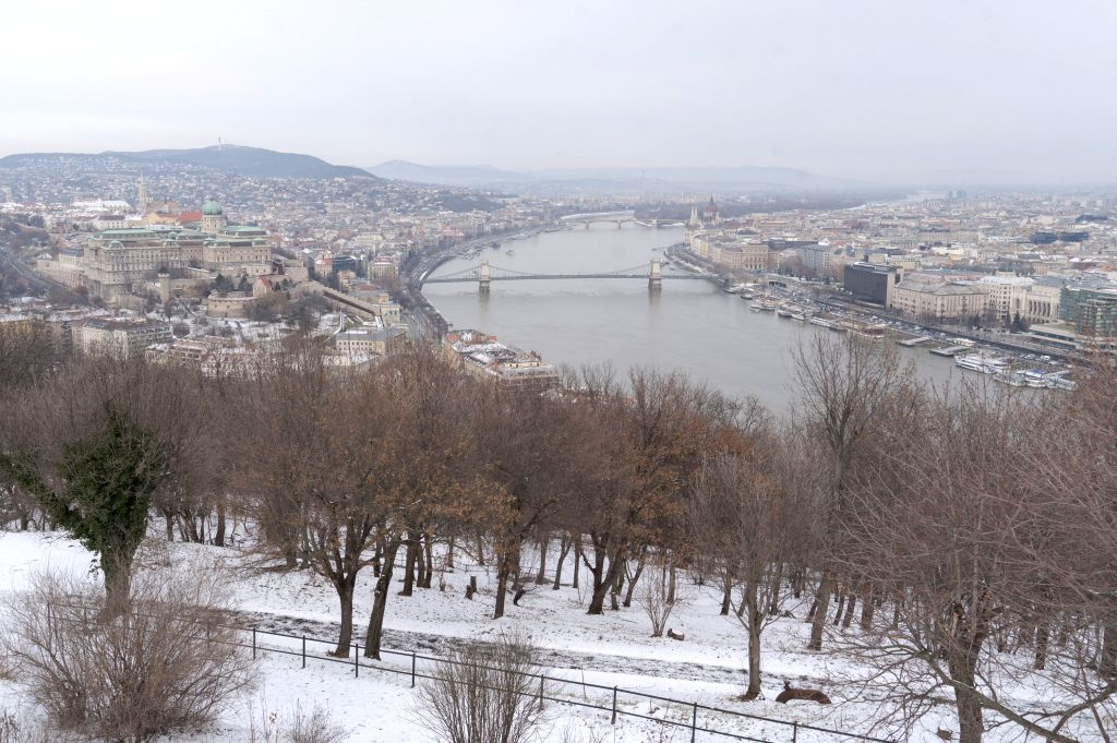 BUDAPEST, Jan. 24, 2019 - Photo taken on Jan. 24, 2019 shows the snow-covered winter landscape in Budapest, Hungary.