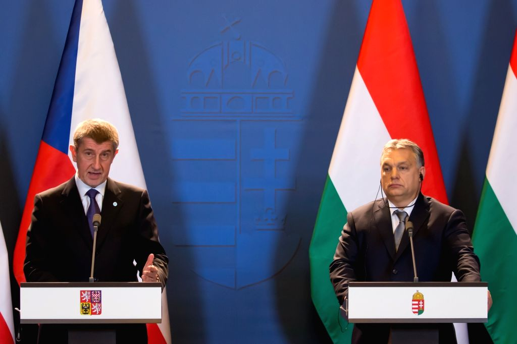 BUDAPEST, Jan. 26, 2018 - Czech interim Prime Minister Andrej Babis (L) and Hungarian Prime Minister Viktor Orban attend a joint press conference after their meeting in Budapest, Hungary on Jan. 26, ... - Andrej Babis