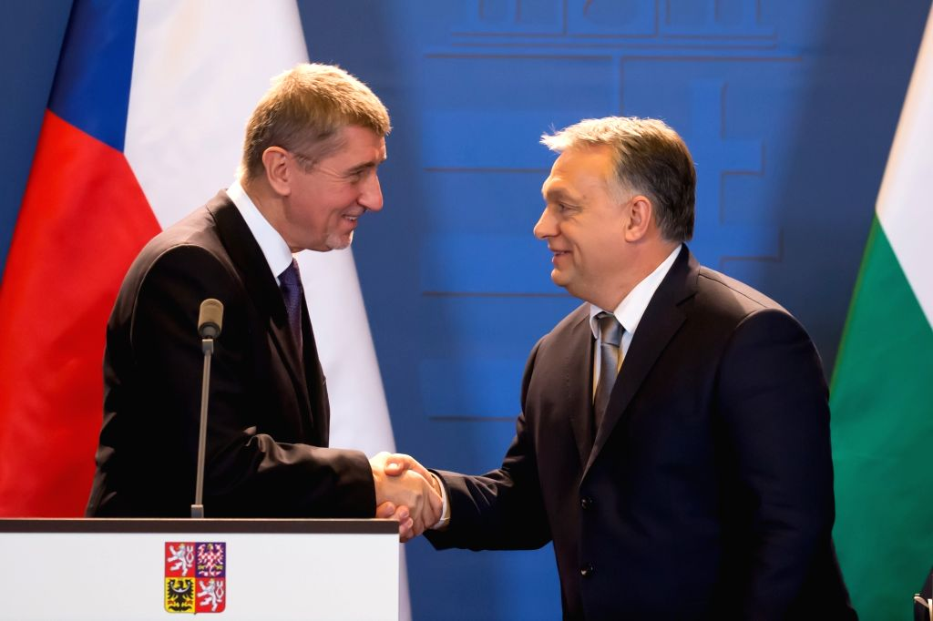 BUDAPEST, Jan. 26, 2018 - Czech interim Prime Minister Andrej Babis (L) and Hungarian Prime Minister Viktor Orban shake hands as they attend a joint press conference in Budapest, Hungary on Jan. 26, ... - Andrej Babis