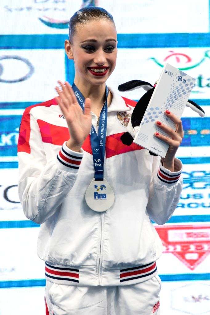 BUDAPEST, July 19, 2018 - Russia's Varvara Subbotina attends the awarding ceremony of solo technical routine at the 16th FINA World Junior Artistic Swimming Championships in Budapest, Hungary on July ...