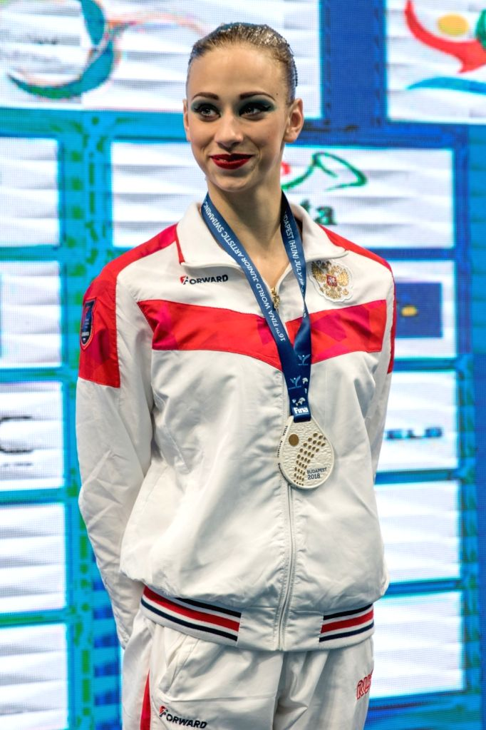 BUDAPEST, July 19, 2018 - Russia's Varvara Subbotina attends the awarding ceremony of solo free routine at the 16th FINA World Junior Artistic Swimming Championships in Budapest, Hungary on July 18, ...