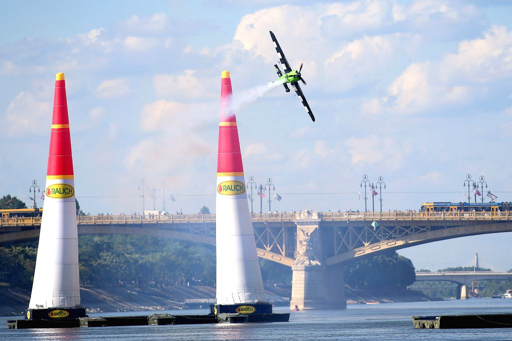 BUDAPEST, July 2, 2017 - A Red Bull pilot flies his plane on the Qualifying Day of the Red Bull Air Race World Championship in Budapest, Hungary, July 1, 2017.