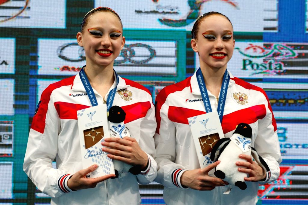 BUDAPEST, July 20, 2018 - Elizaveta Minaeva and Kseniia Ladnaia of Russia attend the awarding ceremony of the women duet technical final at the 16th FINA World Junior Artistic Swimming Championships ...