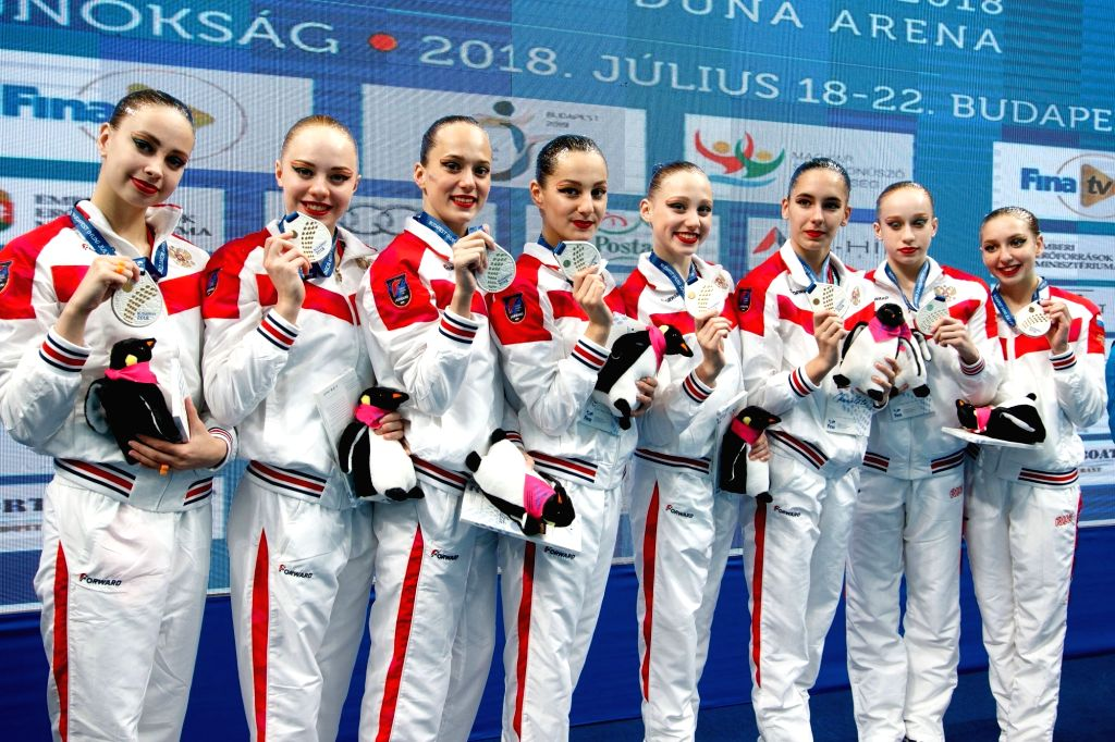 BUDAPEST, July 21, 2018 - Members of team Russia attend the awarding ceremony of women team technical at the 16th FINA World Junior Artistic Swimming Championships in Budapest, Hungary, on July 20, ...