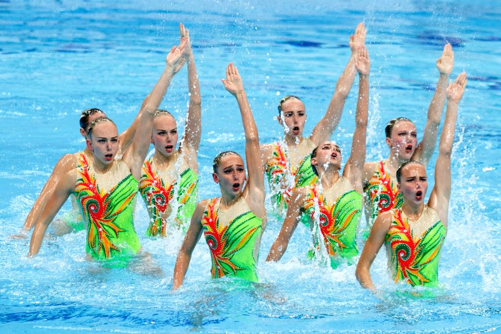 BUDAPEST, July 21, 2018 - Members of team Ukraine perform during the women team technical final at the 16th FINA World Junior Artistic Swimming Championships in Budapest, Hungary, on July 20, 2018. ...