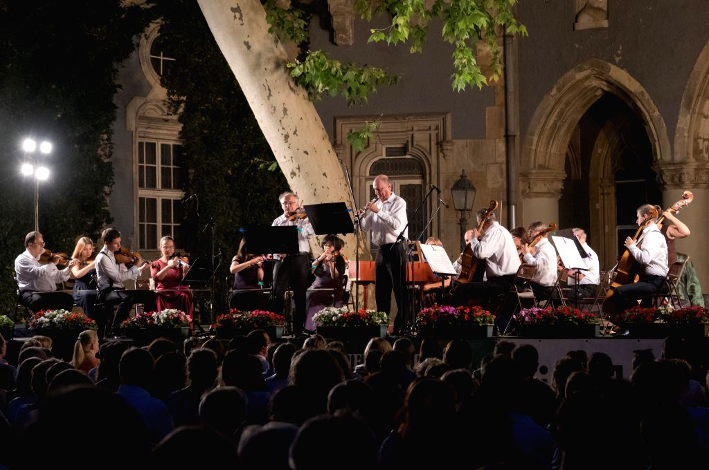BUDAPEST, July 26, 2019 - Members of the Budapest Strings Chamber Orchestra play during their concert held as part of the Vajdahunyad Castle Summer Music Festival in the Vajdahunyad Castle located in ...
