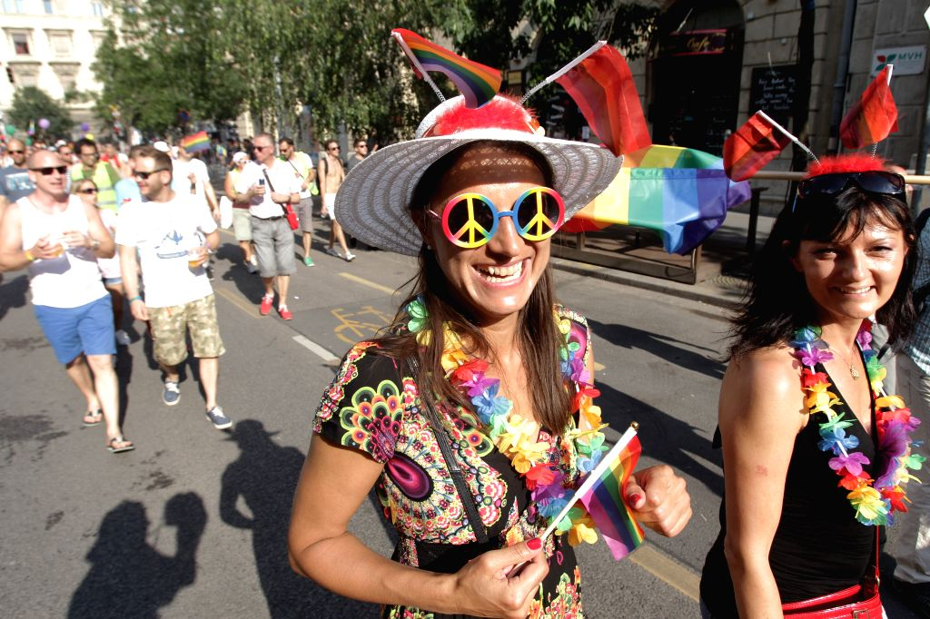 BUDAPEST, July 3, 2016 - People participate in annual gay pride parade in Budapest, Hungary, on July 2, 2016.