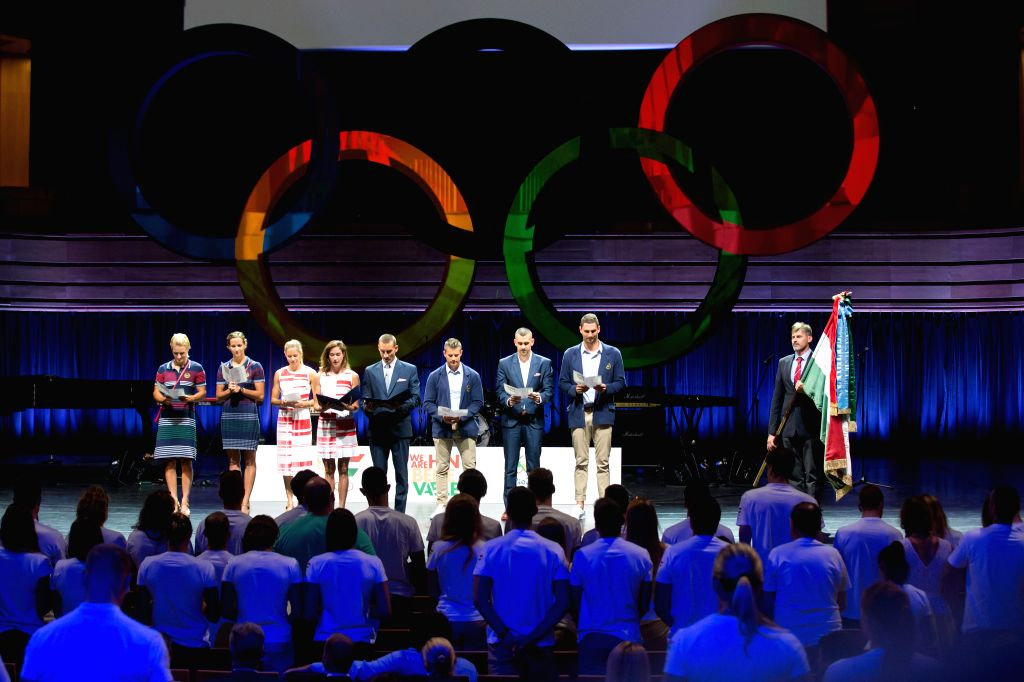 BUDAPEST, July 8, 2016 - Members of the Hungarian Olympic team take the Olympic oath during an official ceremony at Palace of Arts in Budapest, Hungary on July 7, 2016. Although there are still some ...
