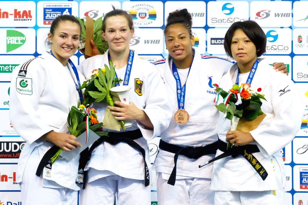 Gold medalist Iljana Marzok (2nd L) of Germany, silver medalist Barbara Matic (L) of Croatia, bronze medalists Fanny Estelle Posvite (2nd R) of France and Karen ...