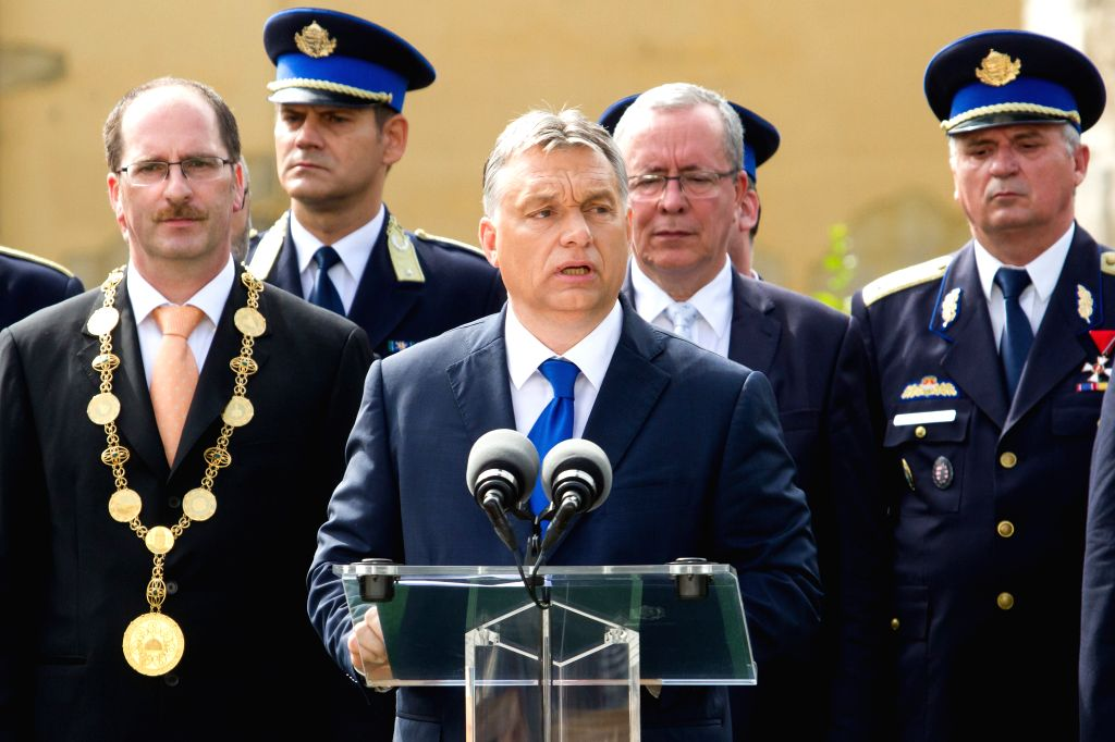 BUDAPEST, June 26, 2016 - Hungarian Prime Minister Viktor Orban speaks during an oath-taking ceremony of newly graduating law enforcement officers and disaster management officers in Budapest, ... - Viktor Orban