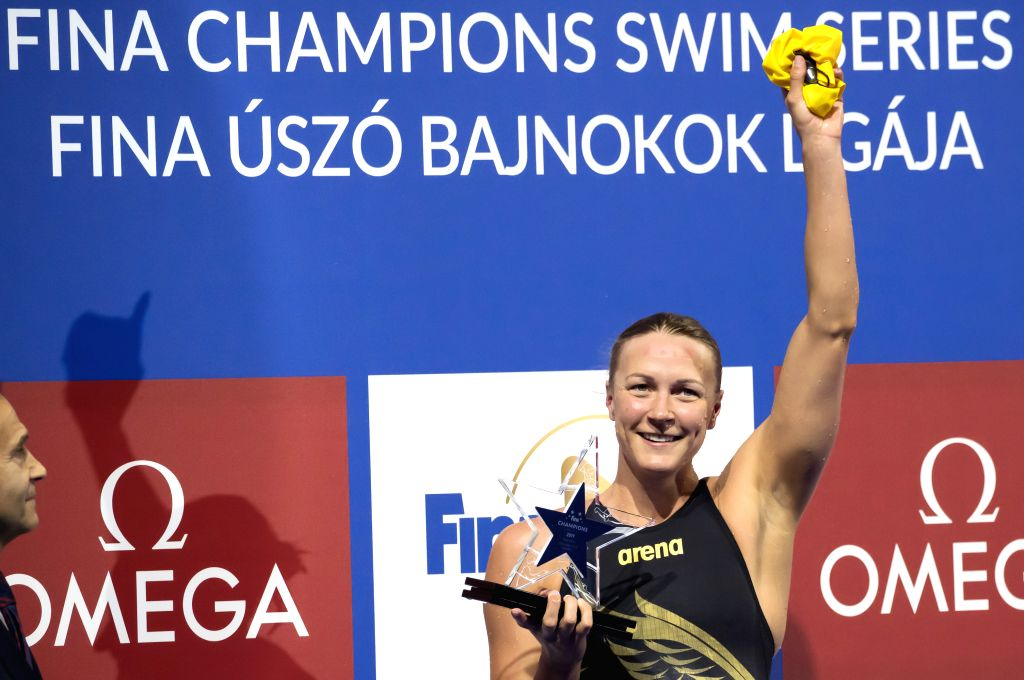BUDAPEST, May 13, 2019 - Sarah Sjoestroem of Sweden receives awards after winning the Women's 50m Freestyle final at the FINA Champions Swim Series at the Danube Arena in Budapest, Hungary on May 12, ...