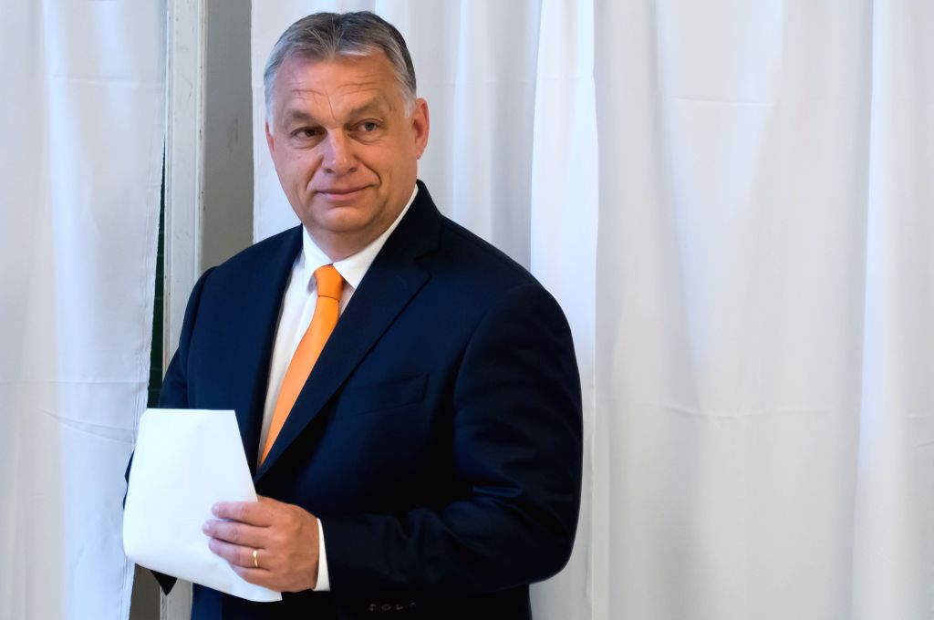 BUDAPEST, May 26, 2019 - Hungarian Prime Minister Viktor Orban prepares to vote at a polling station during the European Parliament elections in Budapest, Hungary on May 26, 2019. - Viktor Orban